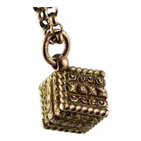 Unusual Antique 1800s Early Victorian Two-Color Rose & Yellow 9K Gold Cube Charm