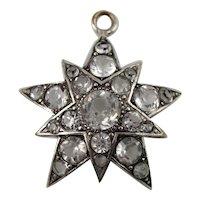 Antique Victorian Sparkly Paste Silver Star Pendant