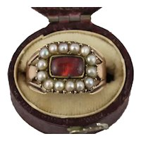 Antique Georgian 12K Gold Foiled Red Crystal Pearl Ring
