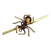 Antique Victorian - Edwardian 9K Gold Citrine Spider Bar Brooch