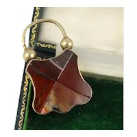 Beautiful Antique Victorian 15K Gold & Red Agate Padlock Locket Clasp
