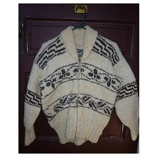 Vintage Shawl Collar Cowichan Indian Curling Sweater with Label