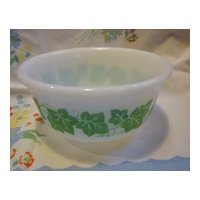 Hazel Atlas Milk Glass Ivy Pattern  Mixing Bowl 6""