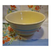 Country Kitchen McCoy Stonecraft Blue and Pink Stripe Mixing Bowl # 8