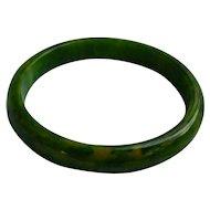 Green Yellow Swirl Bakelite Bangle Bracelet