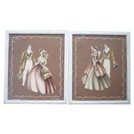 Pair Framed Turner Prints Antebellum Couples