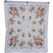 Pink and Yellow Flowers and Bows Print Tablecloth