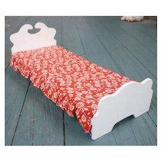 Folk Art Handmade White Wooden Doll Bed with Red and White Bedspread