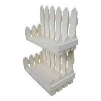 Folk Art White Picket Fence Wall Shelf