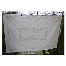 Lovely Large Linen Nasturtiums Embroidered Tablecloth