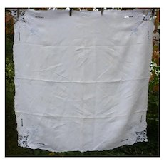 Lovely White Linen with Blue Embroidered Openwork Tablecloth