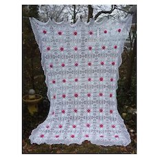 Elaborate Pattern White with Pink Roses Handmade Crochet Bedspread