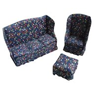 Calico Wing Back Sofa Chair and Ottoman Dollhouse Parlor Set