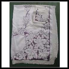 Gorgeous Grapes and Leaves Embroidered Linen Tablecloth and Napkins