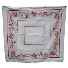 Red Pink Gray Fruits Jelly and Jam Border Print Vintage Tablecloth