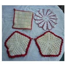 Red and White Crochet Potholder Group