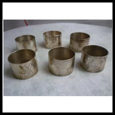 Silvertone Garden Motifs Napkin Rings Set of 6