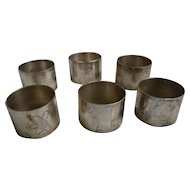 Silvertone Garden Motifs Napkin Rings Set of 6