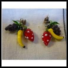Glass Fruit Salad Dangles Pierced Earrings