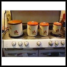 Geranium Decals Vintage Metal Kitchen Canister Set of Four