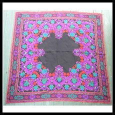 Rich Colorful Stylized Scrolls and Flowers Pattern Scarf Liz Claiborne