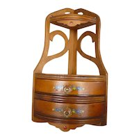 Ornate Open Fret Work Victorian Style Corner Shelf with Drawers