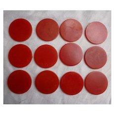 Cherry Red Swirl Bakelite Poker Chips Set