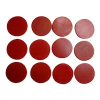 Cherry Red Swirl Bakelite Poker Chips Set