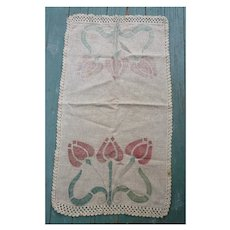Large Arts&Crafts Linen Runner Stenciled Tulips