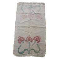 Large Arts&Crafts Linen Runner Stenciled Tulips