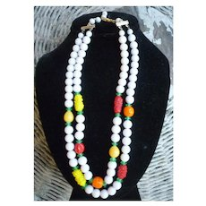 Double Strand Vintage Glass Fruit Salad Necklace
