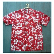 Red and White Hilo Hatties Hawaii Print Boys Aloha Surfer Shirt L