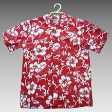 Red and White Hilo Hatties Hawaii Print Boys Aloha Surfer Shirt L