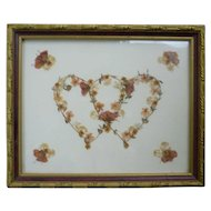 Entwined Hearts Pressed Dry Flowers Art Framed by Sylvia's