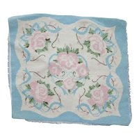 Pink and Blue Floral Needlepoint Pillow Top