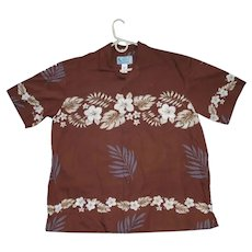 JC Tropical Flowers Lei Print Hawaiian Aloha Surfer Shirt  XL