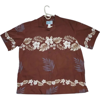 JC Tropical Flowers Lei Print Hawaiian Aloha Surfer Shirt  XL