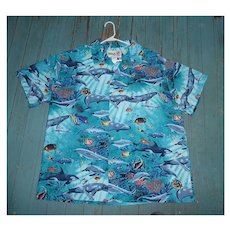 Colorful Hula Girl Underwater Fishes Print Hawaiian Aloha Surfer Shirt  3XL