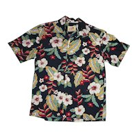 Colorful Paradise on a Hanger Tropical Floral Print Hawaiian Aloha Surfer Shirt