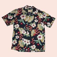 Colorful Paradise on a Hanger Tropical Floral Print Hawaiian Aloha Surfer Shirt