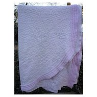 Morgan Jones Pale Pink Chenille and Woven Vintage Bedspread