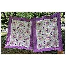 Matched Pair 1930's Fabrics and Purple Aster or Sunflower Quilts