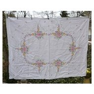 Multicolor Floral Cross Stitch Embroidered Tablecloth