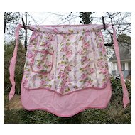 Pink Roses 1950s Print Reversible Vintage Apron