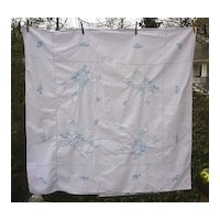 Blue Waterlilies Hand Embroidered White Linen Tablecloth