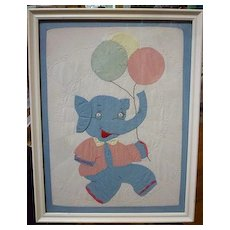 Elephant with Balloons Doll Quilt Framed for Nursery