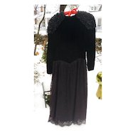 Black Velvet Lace and Satin Jessica McClintock Party Dress