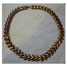 Signed Renoir Copper Leaves Necklace