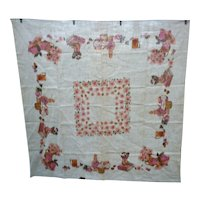 Rusticana by Paragon Fruits Flowers Preserves Kitchen Motif Print Linen Tablecloth MWT