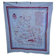 Awesome Alaska Map Souvenir Linen Tablecloth Vintage 1950s